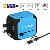VGUARD Adaptateur de Voyage avec 2 USB Adaptateur Universel Pris de Courant pour UE/US/UK/AUS Utilisé dans Plus de 150 Pays Adaptateur Chargeur avec Deux fusible - Bleu