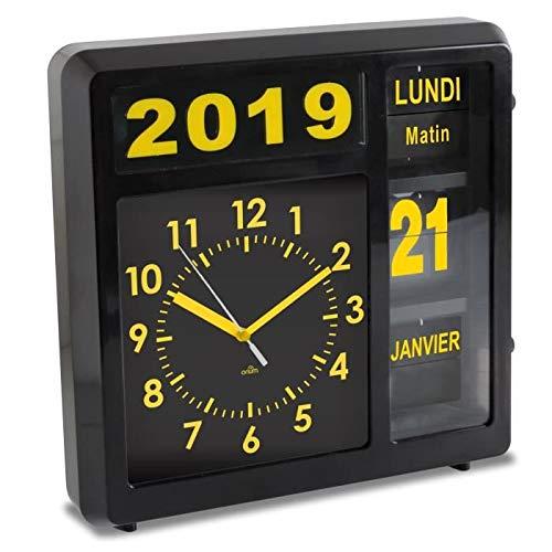 Orium 11849 Horloge à Date à Volets Visual, Noir, 32 x 32 x 10 cm