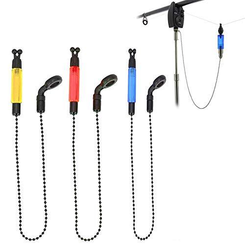 NA 3 Pcs 3 Colors Bite Indicator Fishing Alarms Light Illuminated Rod Fishing Alarms Accessories Portable Bobbins Hangers Alerter