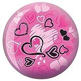 Brunswick Bowling Products Hearts Glow Viz-A-Ball Bowling Ball 10Lbs, Pink/Black, 10 lbs