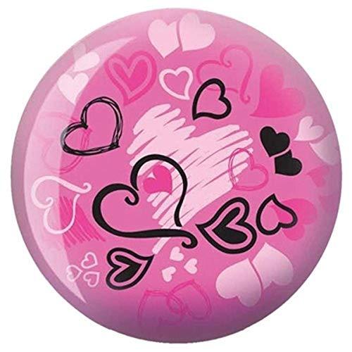 Brunswick Products Hearts Glow Viz-A-Ball Bowling Ball, Pink/Black, 16 lb