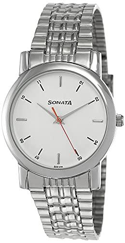 Sonata Analog White Small Dial Men's Watch -NJ7987SM03W