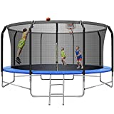 Upgraded 14FT Trampoline Basketball Hoop, Recreational Trampoline with Balance Bar and Safety Enclosure Net Outdoor Trampoline for Kids & Adults with Jump Mat Spring Cover & Ladder Load Up to 870LBS