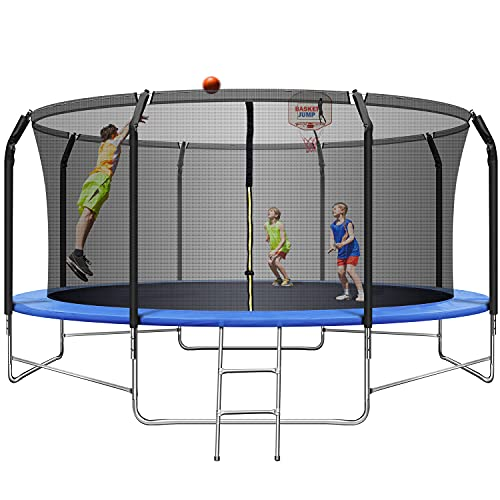 Upgraded 14FT Trampoline with Basketball Hoop, Recreational Trampoline with Balance Bar and Safety Enclosure Net, Outdoor Trampoline for Kids & Adults with Jump Mat, Spring Cover & Ladder