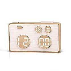 meross Digital Alarm Clock for Bedroom, Table Clock,5 Alarm Settings, Modern Clock, Automatic Brightness, LED Time Display, Voice Control,Bamboo Desk Clock for Heavy Sleepers