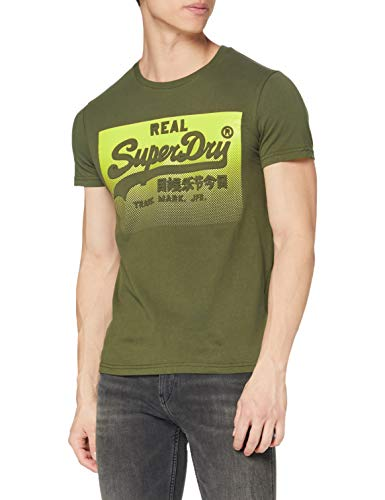 Superdry VL Halftone Emboss tee Camisa, Verde (Olive Night GPA), 3XL para Hombre