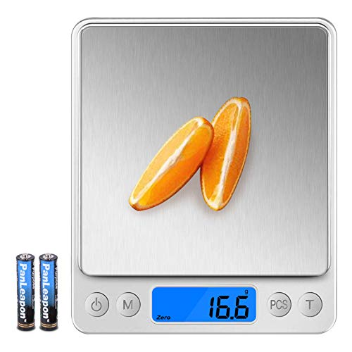 Wodgreat Báscula de Cocina, Balanza Cocina Digital de Alta Precisión 0.1g/3 kg, Bascula Cocina Precision con función PSC/Tara, Peso de Cocina con Pantalla LCD (2 Bandejas y Baterías Incluidas)