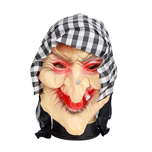 JZGJG Cosplay Horror Hexe Maske Halloween Party Weibliche Geist Kostüm Requisiten Gruselige Kopfmaske Gesicht für Erwachsene/Alter Mann Masken, a, Einheitsgröße