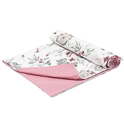 Babydecke Baumwolle Waffelpique Kuscheldecke 75x100 - Sommer Baby Decken Kinderwagen Kinderwagendecke für Mädchen Rosa mit Traumfänger