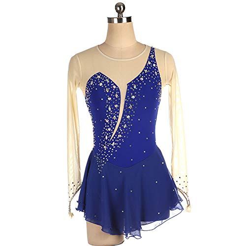Vestido De Patinaje Artistico para Niñas Body Gimnasia Rítmica Vestido Moda Manga Larga Ahuecar Diseño Traje De Actuación,Azul,M