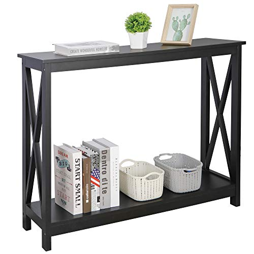 ZenStyle Sofa Side Console Table with 2 Storage Shelves Narrow Accent Table for Entryway/Hallway/Living Room, 39.3in L x 11.8in W x 31.6in H, Black