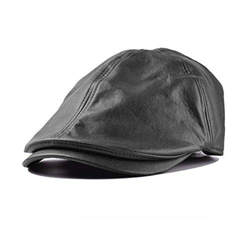 Yvelands Uomo Donna Vintage Berretto in Pelle Berretto con Visiera a Maglia Cappello Invernale Sciarpa Sciarpe da Sci all'aperto Set(Nero,Taglia Unica)