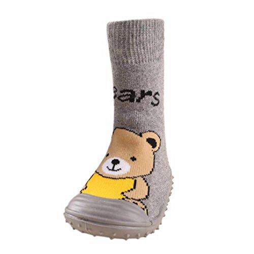 JERFER Boden Socken rutschfeste Gummisohlen Schuhe-Premium Weich Leder Babyschuhe Jungen und Mädchen Babyschuhe - Neugeborene bis 1-3.5Jahre (22, Grau)