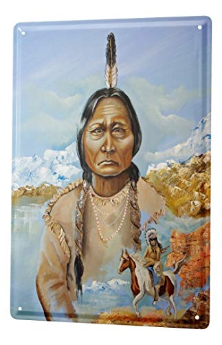 LEotiE SINCE 2004 Tin Sign Metal Plate Poster Plaque Retro Western old Indian woman horse warriors mountains