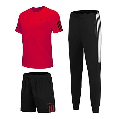 3 PC / sistemas juegos de los deportes de la camiseta de los hombres de funcionamiento de Shrits + pantalón corto + Pantalones de chándal for hombre ropa deportiva de fútbol un gimnasio de actividades