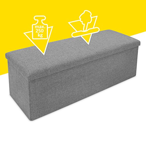 Faltbare Sitzbank mit Extra Stauraum - Grau 110 x 38 x 35 cm - Praktische Aufbewahrungsbox mit Sitzpolster - Grinscard - 4