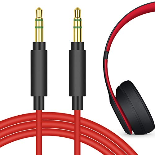 Geekria QuickFit Audio Cord for Beats Solo3, Solo2, Solo HD, Studio3, Studio, Studio2, Executive, Mixr Pro, Soul SL300WB, SL150BW, SL300GG Headphones, 3.5mm Stereo Cable (Red 5.6ft)