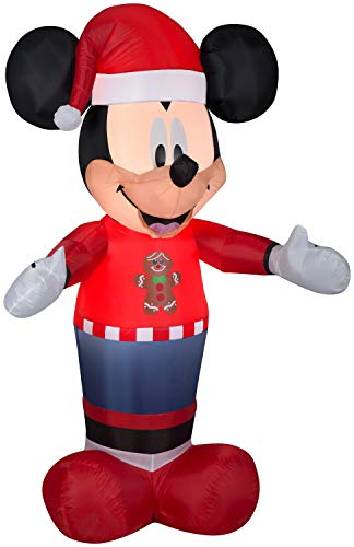 5' Mickey with Gingerbread Man Sweater Christmas Inflatable