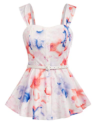 Summer Sleeveless Blouse Shirts for Women Flare Peplum Blouse Tops for Work 50s Shirts with Belt (Tie Dye, XL)