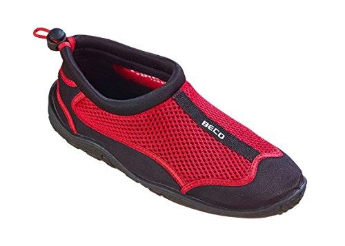 BECO Badeschuhe Surfschuhe Wattschuhe Strandschuhe Aqua Schuhe für Damen und Herren *Neue Kollektion (schwarz/rot, 45)
