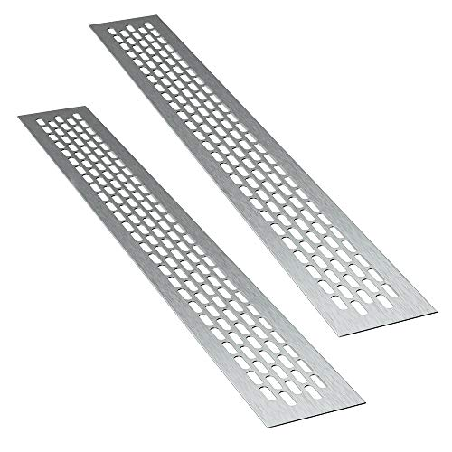 sossai® Aluminium Lüftungsgitter - Alucratis (2 Stück) | Rechteckig - Maße: 48 x 6 cm | Farbe: Inox | gebürstet