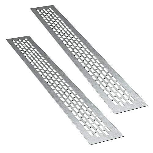 sossai® Aluminium Lüftungsgitter - Alucratis (2 Stück)   Rechteckig - Maße: 48 x 6 cm   Farbe: Inox   gebürstet