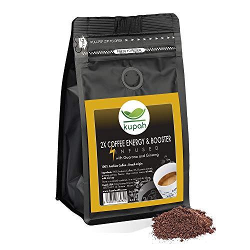 Cafe molido natural extra fuerte | Kupah Energy Booster | Cafe molido espresso 250 g | Aumenta la Energía | Guarana y Ginseng | Tostado artesanal