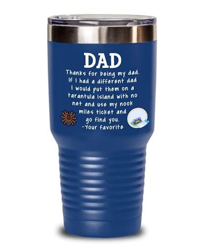 Animal Crossing Dad Coffee Tumbler Father's Day Dad Birthday Dad Christmas ACNH Tarantula Nook Miles Ticket Color Options