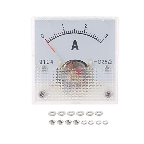 BIlinli 91C4 Amperemeter DC Analog Current Meter Panel Mechanischer Zeiger Typ 1/2/3/5/10/20/30/50/100/200/300 / 500mA A