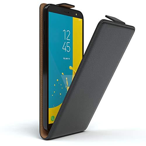 EAZY CASE Hülle kompatibel mit Samsung Galaxy J6 Hülle Flip Cover zum Aufklappen, Handyhülle aufklappbar, Schutzhülle, Flipcover, Flipcase, Flipstyle Hülle vertikal klappbar, aus Kunstleder, Schwarz