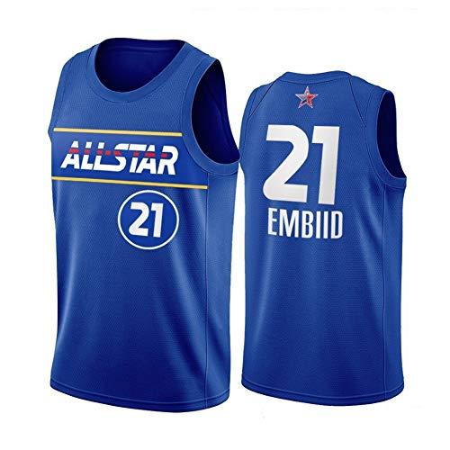 ZRHZB 2020-2021 All-Star #21 Joel Embiid Camiseta de Baloncesto Hombre Jersey Uniforme Malla Chaleco de la Camisa para niños Adolescentes Estudiantes(Tamaño: XS-XXL),XS