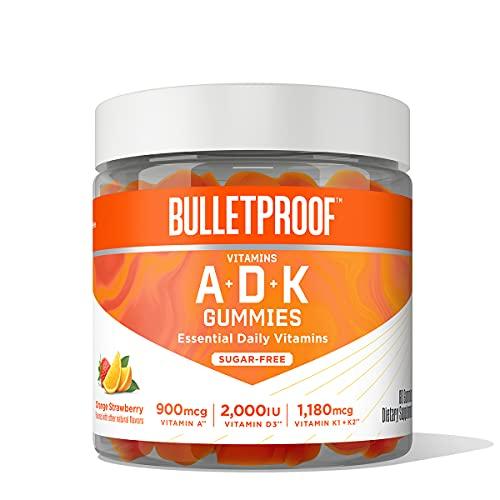 Bulletproof Sugar-Free Orange Strawberry Vitamins A+D+K Gummies, 60 Count, Keto Supplement for Heart, Bone and Immune Support