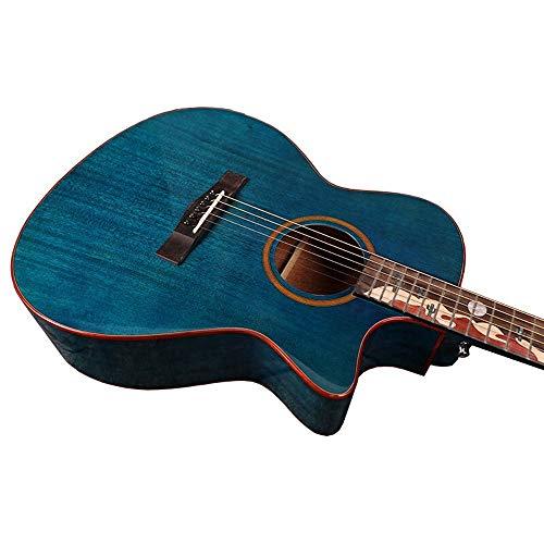 Boll-ATur akoestische gitaarset van 40 inch in originele grootte, Capo, E-Tuner, Gig-Bag, draagriem, plectra mahonie plaat in desert-camel-stijl blauw