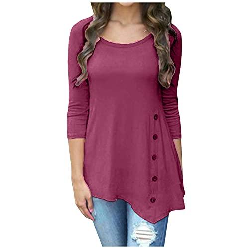 YANFANG Blusa Irregular De Mujer,Blusa con Ribete Botones Sueltos Manga Larga para Mujer Camiseta TúNica Cuello Redondo Color SóLido,Cuello Redondo,Botones,Rosa Fuerte,XL