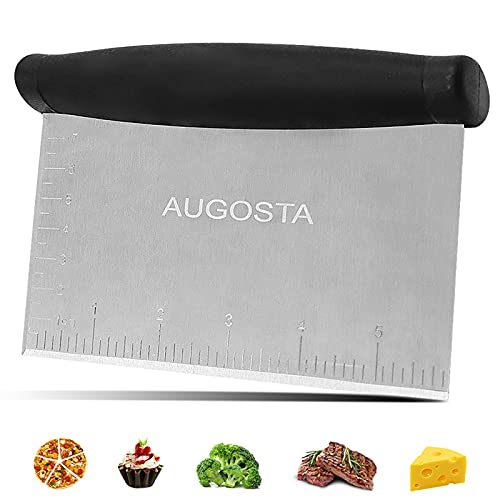 Augosta Pizza Cutter Dough Pastry Scraper, Premium Bench Scraper for Baking Mirror Polished with Ergonomic Handle, Multipurpose Kitchen Tool for Pizza Bread Pastry Butter (1 Pack)