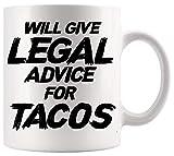 Taza de abogado Taza de abogado Taza de abogado El abogado divertido dará asesoramiento legal para Tacos Regalo de oficina Póster Tazas divertidas Tazas