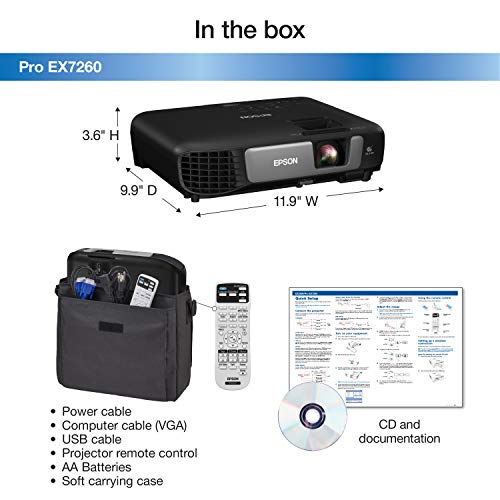 Epson Pro EX7260 WXGA 3,600 lumens color brightness (color light output) 3,600 lumens white brightness (white light output) wireless HDMI MHL 3LCD projector Photo #3