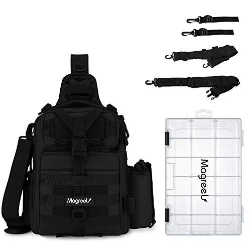 Magreel Angelrucksack mit Angelkoffer Angeltasche mit Rutenhalter und 3600 Köderbox Rucksack Schultertasche Rutentaschen für Angelzubehör Angelausrüstung Angeln - Schwarz