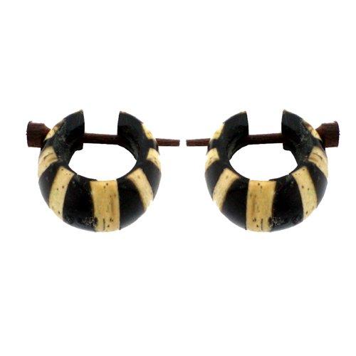 Madera Chic-Net aro de madera pendientes-negro-amarillento Hoop tallados a mano de madera de coco y 16 mm de resina Pendientes Pin