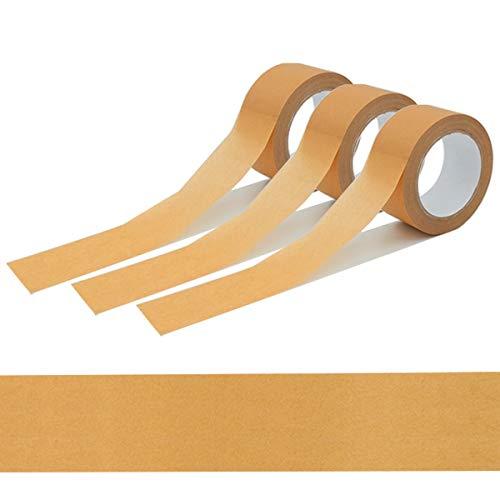 verpacking 3 Rollen Papierklebeband 50m braun, recycelbar, leise abrollend, starker Naturkautschuk Kleber, umweltschonende PP Alternative