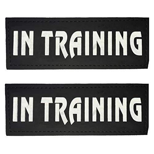 ASOCEA 2 Stück Reflektierendes Hunde-Patch Abnehmbare Leder-Anhänger Klett-Patches für Haustiere Diensthund im Training Welpenweste-Geschirr-Befestigung für kleine mittelgroße Hunde