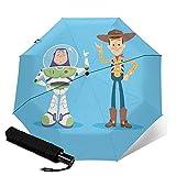 Toy Story Paraguas automático de tres plegables, ligero y portátil, tanto para fines soleados como lluviosos, sombreado al sol y a prueba de rayos UV