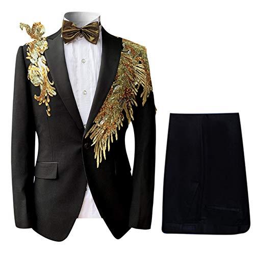 Mens Floral Sequin Embroidered Dress 2 Piece Suit Slim Fit Blazer Jacket & Pant