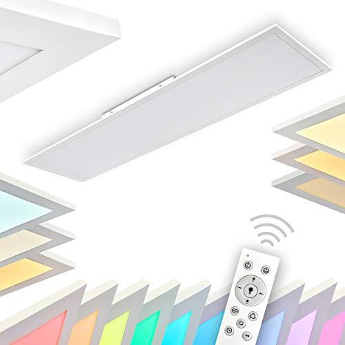 LED Deckenlampe Antria, dimmbare Deckenleuchte aus Kunststoff in Weiß, Panel mit 42 Watt, 3000 Lumen, 2700-5000 Kelvin, längliches Deckenpanel mit RGB Farbwechlser und Fernbedienung, flaches Design