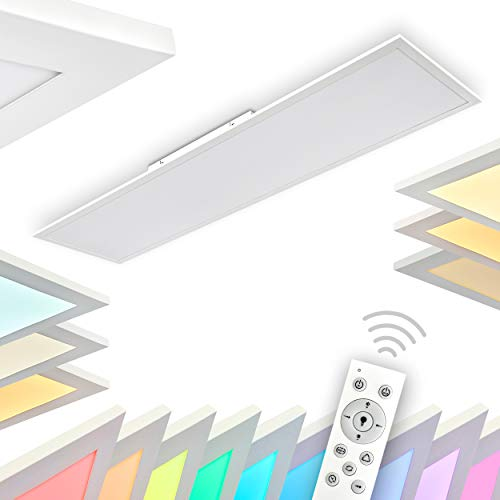 LED Deckenpanel Antria, dimmbare Deckenleuchte aus Kunststoff in Weiß, Panel mit 42 Watt, 3000 Lumen, 2700-5000 Kelvin, längliche Deckenlampe mit RGB Farbwechlser und Fernbedienung, flaches Design