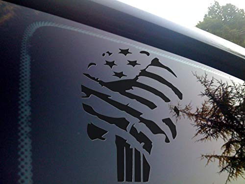 Punisher Flag Vinyl die Cut Decal for Automobile Windows, Motorcycles, Helmets, laptops and Macbooks...