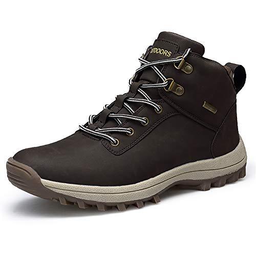 JIANKE Botas de Senderismo para Hombre Zapatillas de Trekking Antideslizante Aire Libre Zapatos Deportes(Marrón,44)
