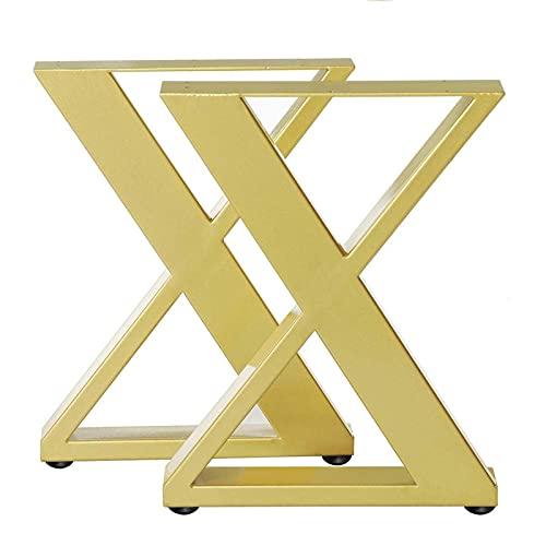 DERUKK-TY 2X Patas de Mesa de Acero Industrial Mesa de Hierro de Metal Negro Mesa de Escritorio y sofá Muebles Pies de Silla artesanales con Alfombrilla Antideslizante (Color: Dorado)