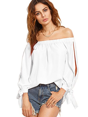 Materials: 96% Polyester, 4% Spandex; The fabric is soft, lightweight and comfortable.Please look at the product reviews and customer shows. Slit sleeve, tie cuff, curved hem, and elasticated off shoulder blouse top Sweet and cute, great for pairing ...