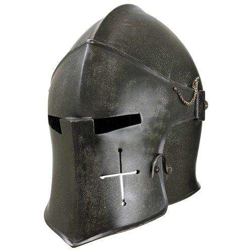 Armor Venue - Epic Dark Visored Barbuta Helmet - Dark Grey - Large Armour